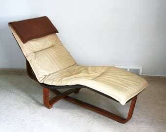 vintage Ingmar Relling Westnofa leather chaise lounge pad danish modern