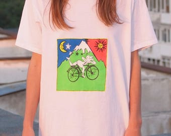 The bicycle day fluorescent tshirt UV Albert Hoffman lsd trip
