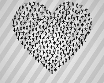 Heart Fitness Silhouette - Svg Dxf Eps Silhouette Rld Rdworks Pdf Png Ai Files Digital Cut Vector File Svg File Cricut Laser Cut