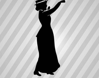 Lady Waving - Svg Dxf Eps Silhouette Rld Rdworks Pdf Png Ai Files Digital Cut Vector File Svg File Cricut Laser Cut