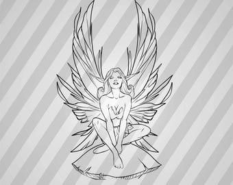 Fairy Silhouette -  Svg Dxf Eps Rld Rdworks Pdf Png Ai Files Digital Cut Vector File Svg File Cricut Laser Cut