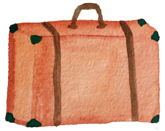 Whimsical Watercolor Suitcase - Printable Digital Clipart