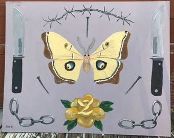 butterfly & knife // tattoo flash style acrylic painting on mat board