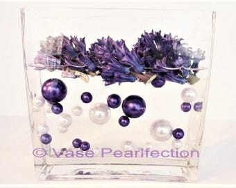 Deep Plum Pearls and White Pearls Vase Fillers in Jumbo and Assorted Sizes for Centerpieces and Tablescapes