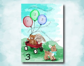 You're Three Today! Watercolor Art Print Children's Birthday Card