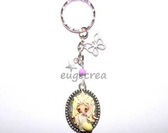 Key ring with polymer clay Unicorn girl
