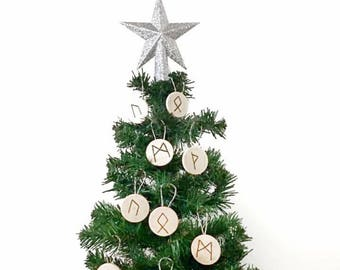 Yule ornaments, rune ornaments, set of 5 ornaments, wood  ornaments, winter solstice , Yule tree decoration, Yule tree ornament , Norse Yule