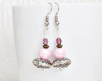 Fancy pink ethnic earrings
