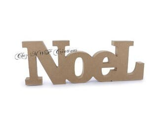 word 'NOEL' raw MDF wooden 23 x 8 x 1, 5cm