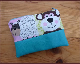 """Kit multi function """"My little lamb"""" faux leather fabric and turquoise cotton"""