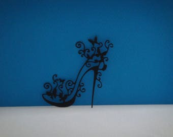 Shoe heel black canson paper cutting
