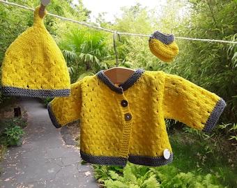 Handmade knit baby 100% extra fine Merino Wool