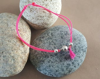 Bracelet nylon Fuchsia and sterling silver ball