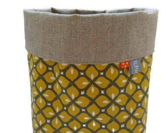 Basket, linen tidy and geometric mustard