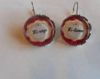 """Earrings cabochon sleeper / """"Mi-ange half-demon"""" / gift / birthday/thank you/Christmas"""