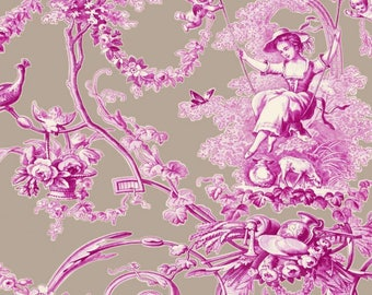 fabric canvas of jouy 280cmL, large width, ludivine, swing, thévenon