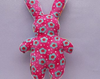 Plush pink Bunny rabbit fabric toy for baby with little bells, rattle