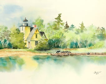 Lighthouse giclee print or original watercolor painting of the lighthouse at Bete Grise on Lake Superior, near Lac La Belle in Michigan.