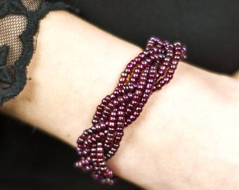 Double woven bracelet Damia - Burgundy beads
