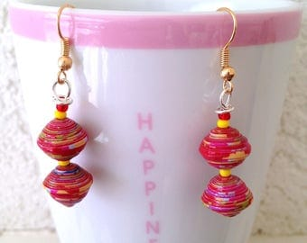 Boho-Hippie earrings, paper beads and seed beads