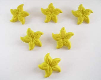 LOT 6 buttons: yellow 21mm starfish