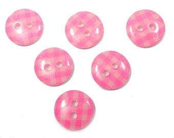 LOT 6 buttons: gingham Pink/White 13mm round