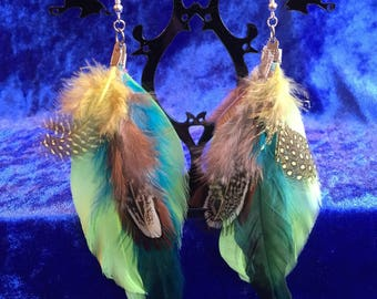 Brown yellow black green feather earrings
