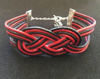 Bracelet mode noeud marin coton cire noir et rouge
