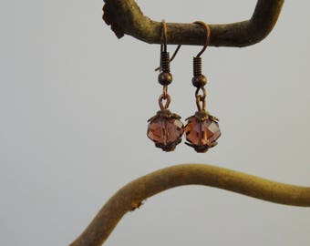 Copper earrings - faceted glass bead - purple-