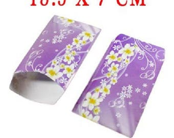 lot 50 sachets fancy paper 13.5x7 pockets violet flower yellow wrapping gifts, jewelry