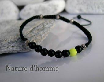 Braided Pearl neon yellow Ref and black onyx stone Bracelet: BN-238