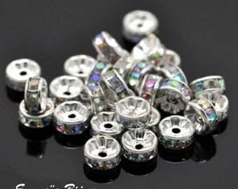 2 with 8 mm rhinestone spacer rondelle beads