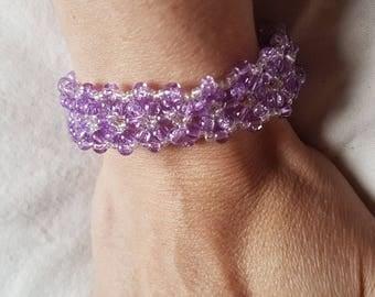 Purple pattern bracelet beads woven with wire unique elastic