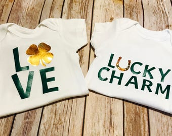 St Patrick's Day Infant bodysuit, Baby outfit for Irish holiday green and gold holograph with Shamrock, Lucky Charm or Love