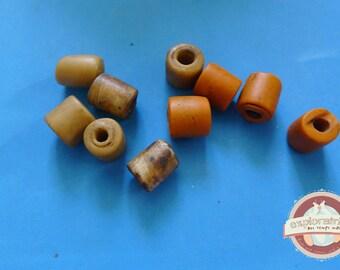 9 tube beads glass orange and yellow ochre 10mm