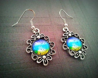 So Fresh, 12mm, colorful blue, green and purple glass cabochon earrings