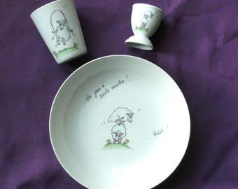 Custom set for christening or birth porcelain. Funny sheep.