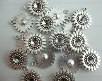 5 flower silver-plated sunflower charms