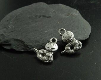 4 silver metal snake charms