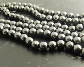 52 8 mm black hematite beads