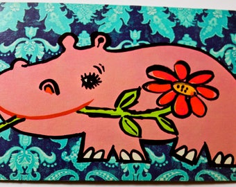 Vintage 1960s Postcard - Pink Hippo holding a red flower
