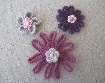 3 color fuchsia, purple, gray crochet flowers