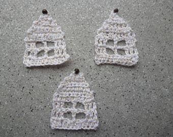3 houses with crochet thread white gold crocheted cotton
