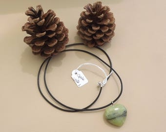 black leather necklace and heart with Green Opal