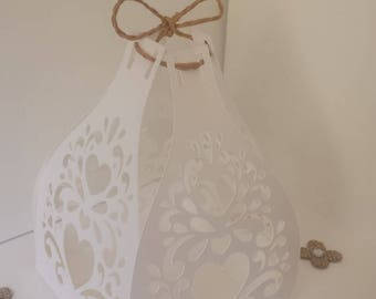 paper heart wedding table centerpiece, candle baptism. Communion...