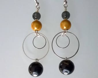 Black/gold dangle earrings