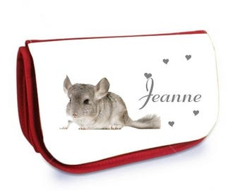 Cosmetic case red Chinchilla /crayons personalized with name