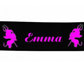 Baby headbands black devil personalized with name