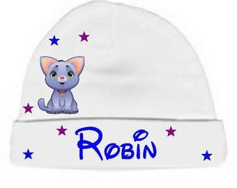 Personalized with name white kitten baby bonnet