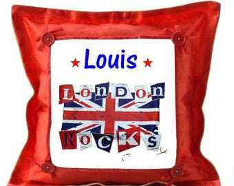 London red pillow personalized with name